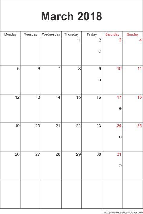 calendar template march 2018 march 2018 calendar printable monthly calendar 2017