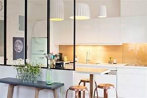 idee de cloison pour separer cuisine et salon With cuisine ouverte avec verriere