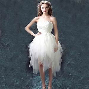 new design 2016 sexy white strapless lace short front long With white strapless wedding dress