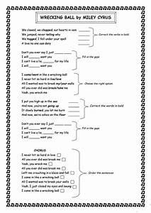Wrecking ball - Miley Cyrus lyrics - English ESL Worksheets