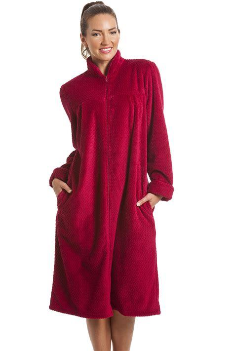 fleece berry zip front house coat