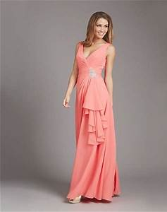sheath v neck low back long coral chiffon ruffle wedding With coral dress for wedding guest