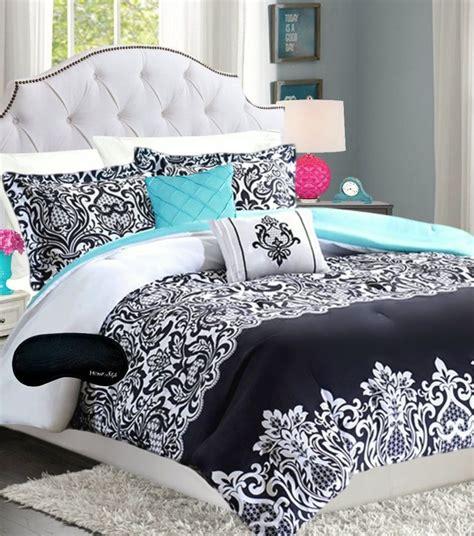 Black And Aqua Bedding by Bedding Damask Comforter Black White Teal Aqua