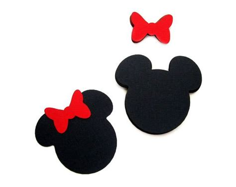 24 Minnie Mouse Die Cut 4 X3.75 Inches In Black With Red Bow