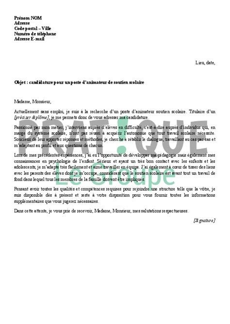 modele de lettre de motivation pour animatrice lettre de motivation pour un emploi d animateur de soutien