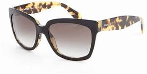 Prada Black and Brown Leopard Rectangle Frame Sunglasses ...