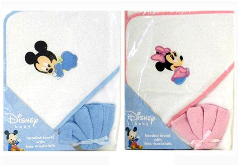 disney mickey minnie mouse infant baby bath hooded towel w