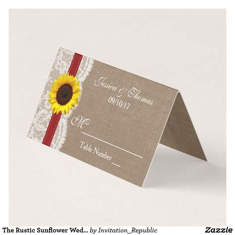 rustic sunflower wedding collection red place card