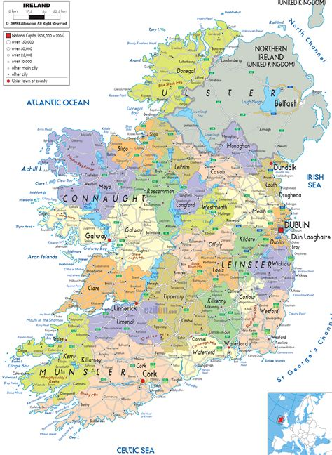 detailed political map  ireland ezilon maps