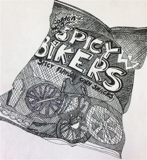 cross hatching  drawing spicy bikers crisp packet