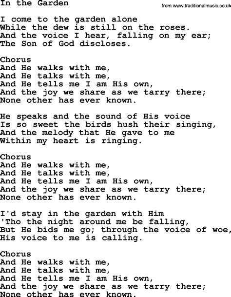 in the garden hymn baptist hymnal christian song in the garden lyrics with