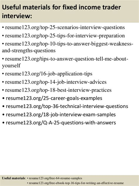 fixed income testing resume top 8 fixed income trader resume sles