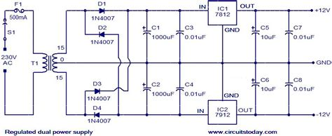 Dual Power Supply Circuit Volt Regulated