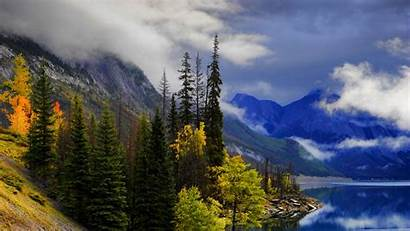 Landscape Lake Mountains Trees Slope Path 1080p