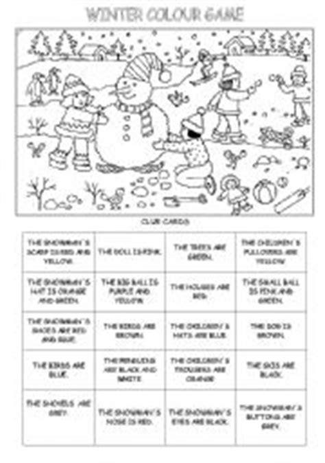 english exercises winter colours