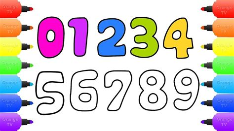 numbers drawing  coloring  kids learn numbers