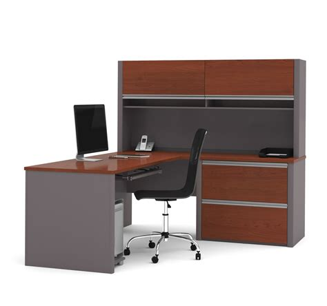 Desk L by Connexion Two Tone L Shaped Desk With Hutch Oversized
