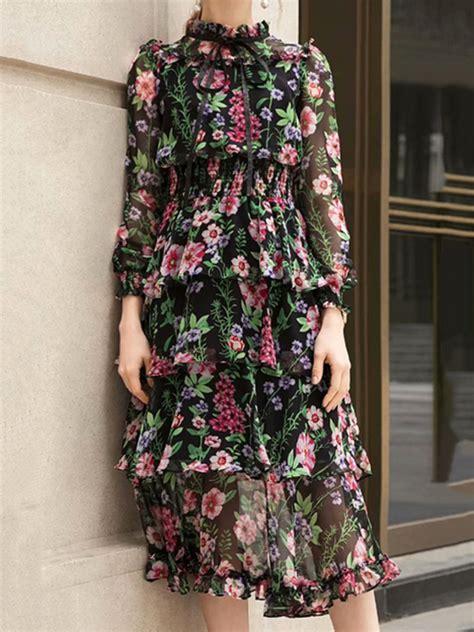 Polychrome Chiffon Floral Print Ruffle Trim Long Sleeve ...