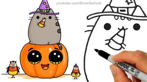 draw pusheen cat  pumpkin  candy corn step