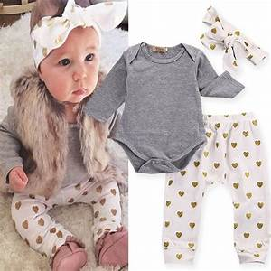 3pcs/set Infant Baby Girls T-shirt Romper+Pants Leggings+Headband Outfit Clothes   eBay