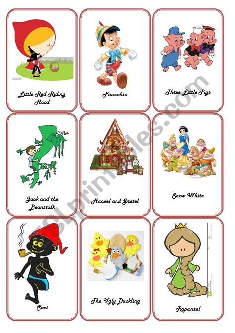English Worksheets Storytelling  Fairy Tales Flashcards