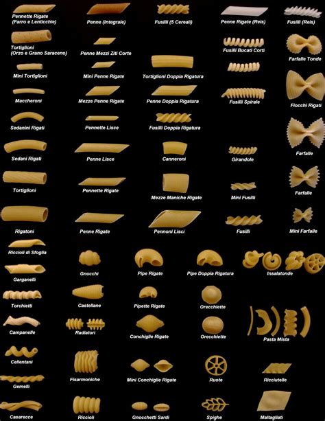 shapes  names  pasta pasta paradise