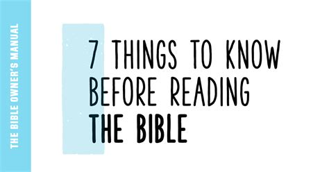 7 Things To Know Before Reading The Bible