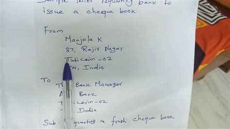 letter  bank  cheque book letter informing bank