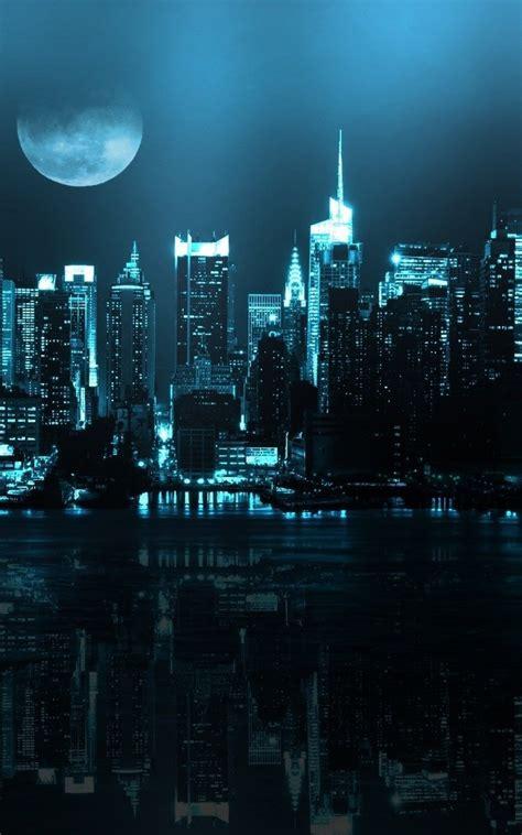 blue city skyline full moon iphone hd wallpaper hd
