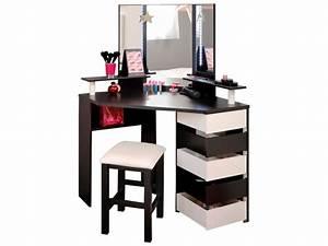 Coiffeuse Meuble Blanc : coiffeuse solange blanc noir emob ~ Teatrodelosmanantiales.com Idées de Décoration