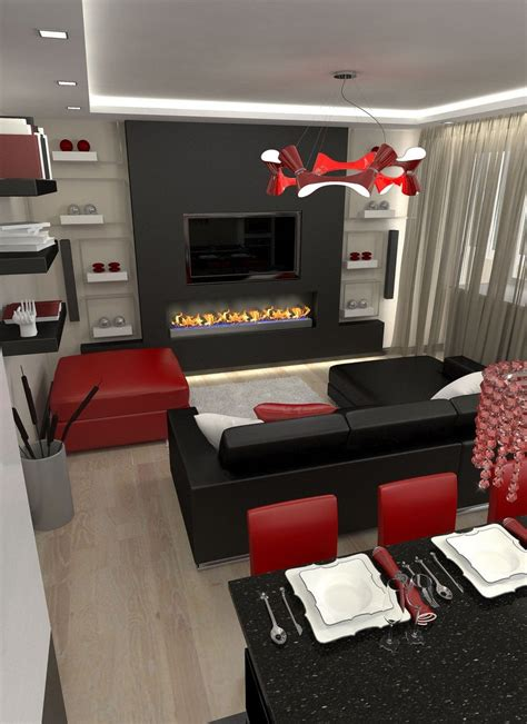 red black  white living room decor  furniture large