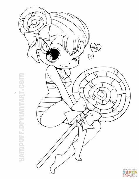 Chibi Lollipop Girl Coloring Page Free Printable Pages