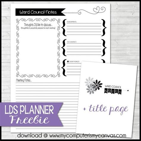 lds planner freebie ward council notes page relief
