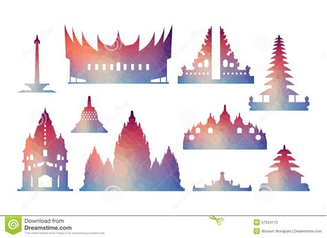 indonesia famous landmark icons cartoon vector