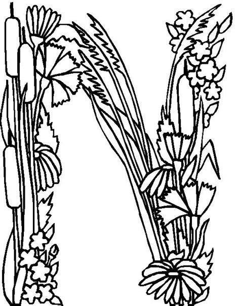N Kleurplaten by N 26 Kleurplaten Alfabet Bloemen