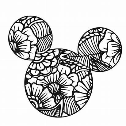 Mandala Coloring Mickey Disney Svg Mouse Cricut