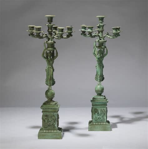 Pair Of Tall Verdigris Bronze Classical Candelabra (t3176