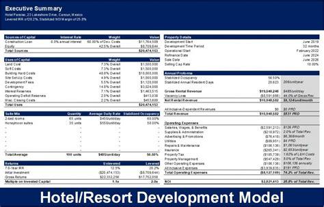 real estate hotelresort development excel model