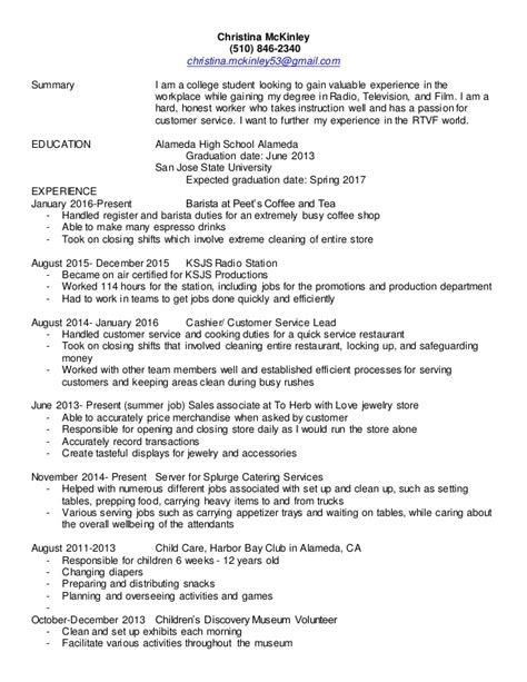 sle resume for barista position u2013