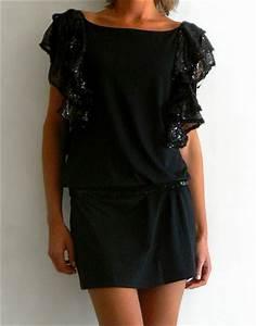 location de robe a sequins sur les epaules robe noire With robe noire taille basse