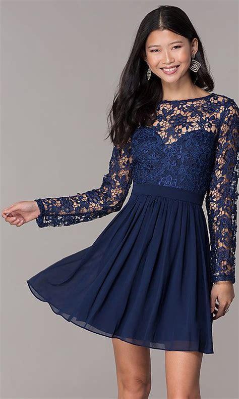 Navy Lace-Bodice Long-Sleeve Hoco Dress by PromGirl   Hoco ...
