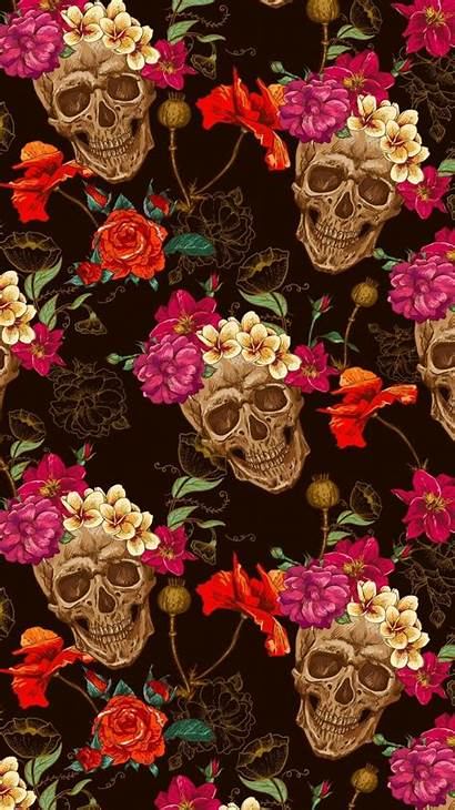 Skull Sugar Iphone Flower Backgrounds Halloween Pattern