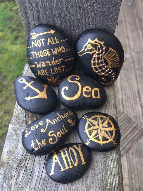 nautical set   black  gold painted pebbles ebay