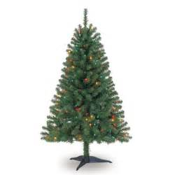 4 ft pre lit green full hillside pine artificial christmas tree multicolor lights by ashland