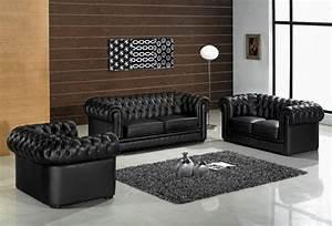 Deco salon avec canape cuir noir for Nettoyage tapis avec canape cuir noir