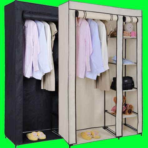 How To Keep Clothes In Cupboard by Canvas Wardrobe Rail Clothes Storage Cupboard Ebay