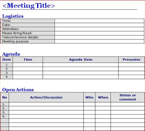 minutes  meeting template word meeting notes template