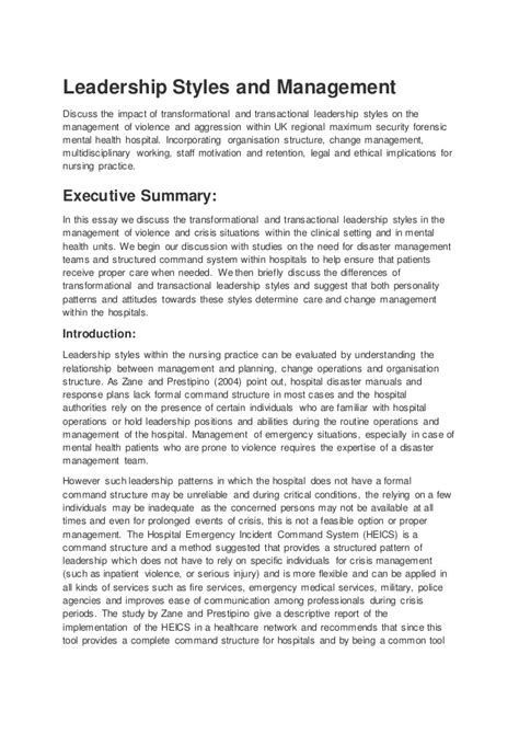 Nursing essay on leadership (example)
