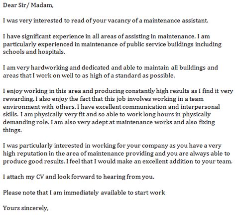 Maintenance Cover Letter Exles by Maintenance Assistant Cover Letter Exle Learnist Org