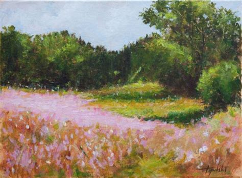 pink landscape flowers oil painting fine arts gallery